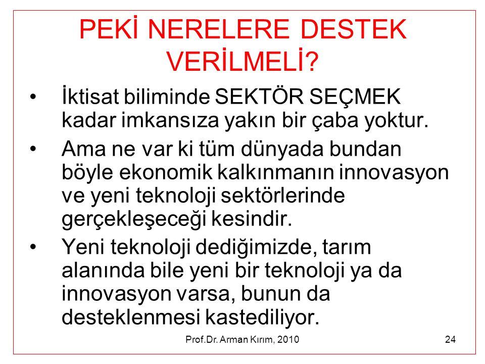 Prof.Dr. Arman Kırım, 201024 PEKİ NERELERE DESTEK VERİLMELİ? •İktisat biliminde SEKTÖR SEÇMEK kadar imkansıza yakın bir çaba yoktur. •Ama ne var ki tü