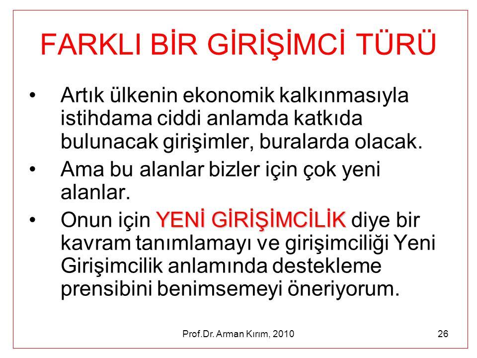 Prof.Dr. Arman Kırım, 201026 FARKLI BİR GİRİŞİMCİ TÜRÜ •Artık ülkenin ekonomik kalkınmasıyla istihdama ciddi anlamda katkıda bulunacak girişimler, bur