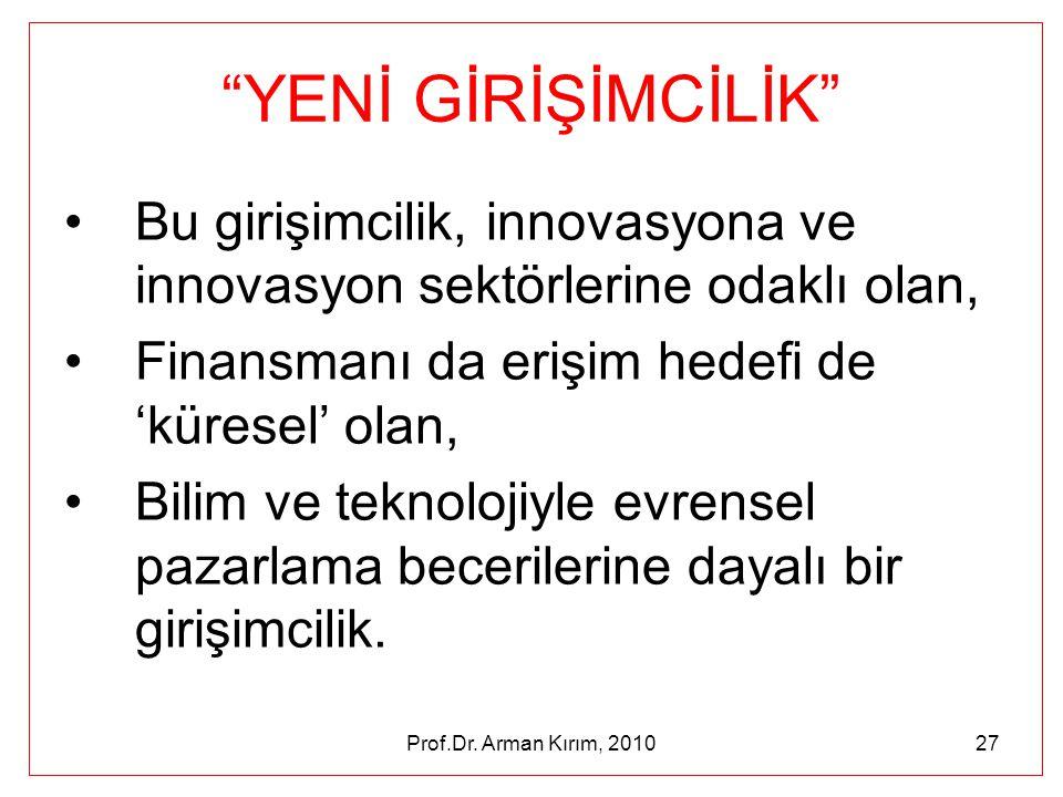 """Prof.Dr. Arman Kırım, 201027 """"YENİ GİRİŞİMCİLİK"""" •Bu girişimcilik, innovasyona ve innovasyon sektörlerine odaklı olan, •Finansmanı da erişim hedefi de"""