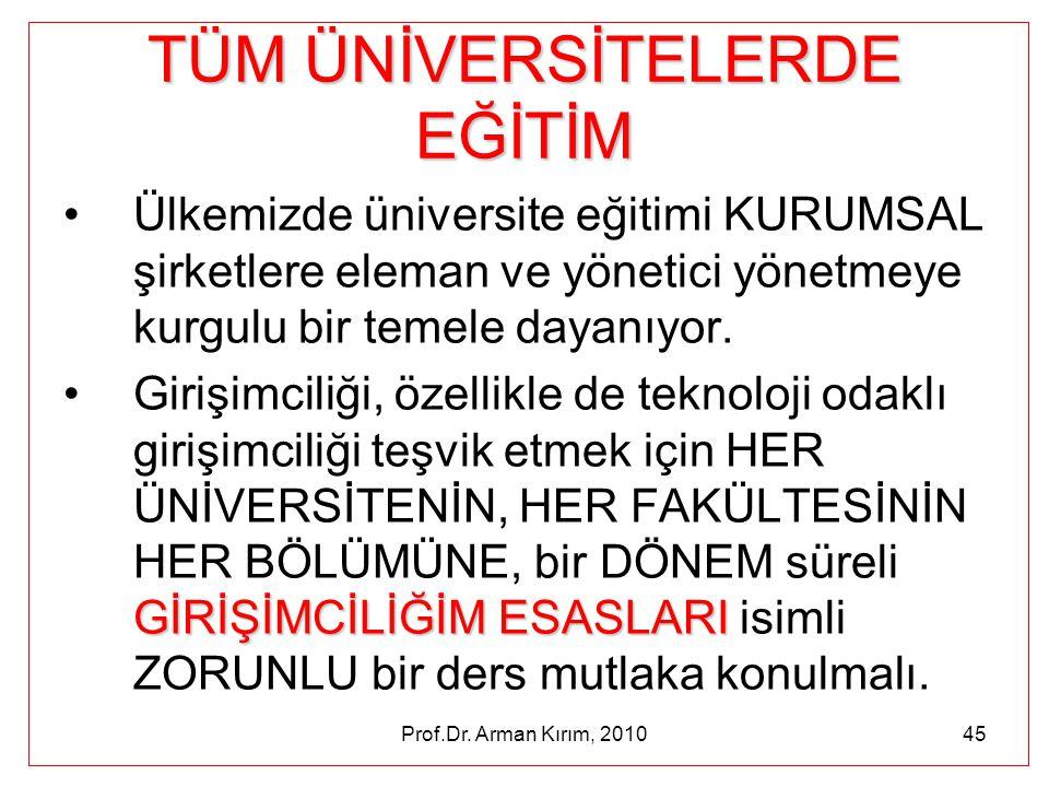 Prof.Dr. Arman Kırım, 201045 TÜM ÜNİVERSİTELERDE EĞİTİM •Ülkemizde üniversite eğitimi KURUMSAL şirketlere eleman ve yönetici yönetmeye kurgulu bir tem
