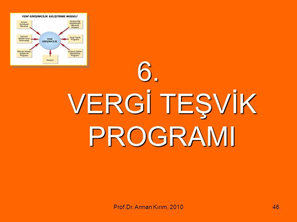 Prof.Dr. Arman Kırım, 201046 6. VERGİ TEŞVİK PROGRAMI