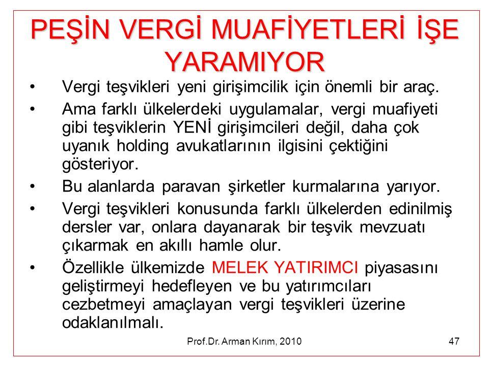Prof.Dr. Arman Kırım, 201047 PEŞİN VERGİ MUAFİYETLERİ İŞE YARAMIYOR •Vergi teşvikleri yeni girişimcilik için önemli bir araç. •Ama farklı ülkelerdeki