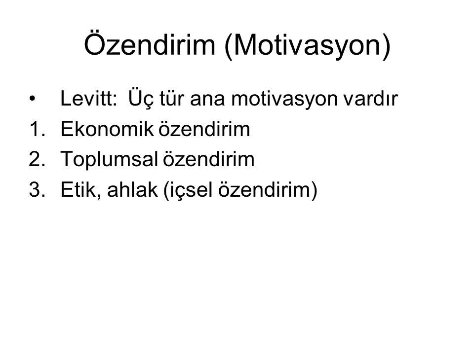 Özendirim (Motivasyon) •Levitt: Üç tür ana motivasyon vardır 1.Ekonomik özendirim 2.Toplumsal özendirim 3.Etik, ahlak (içsel özendirim)