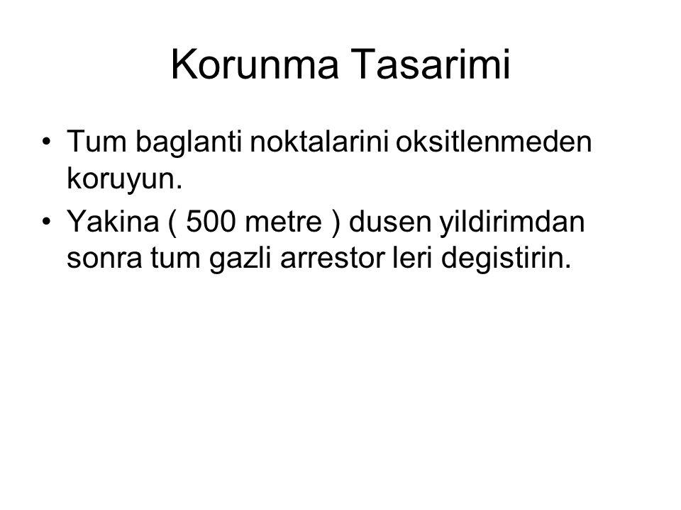 Korunma Tasarimi •Tum baglanti noktalarini oksitlenmeden koruyun. •Yakina ( 500 metre ) dusen yildirimdan sonra tum gazli arrestor leri degistirin.