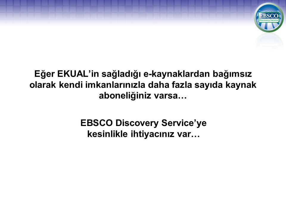 Eğer EKUAL'in sağladığı e-kaynaklardan bağımsız olarak kendi imkanlarınızla daha fazla sayıda kaynak aboneliğiniz varsa… EBSCO Discovery Service'ye ke