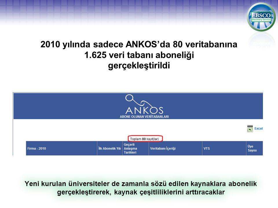 2010 yılında sadece ANKOS'da 80 veritabanına 1.625 veri tabanı aboneliği gerçekleştirildi Yeni kurulan üniversiteler de zamanla sözü edilen kaynaklara