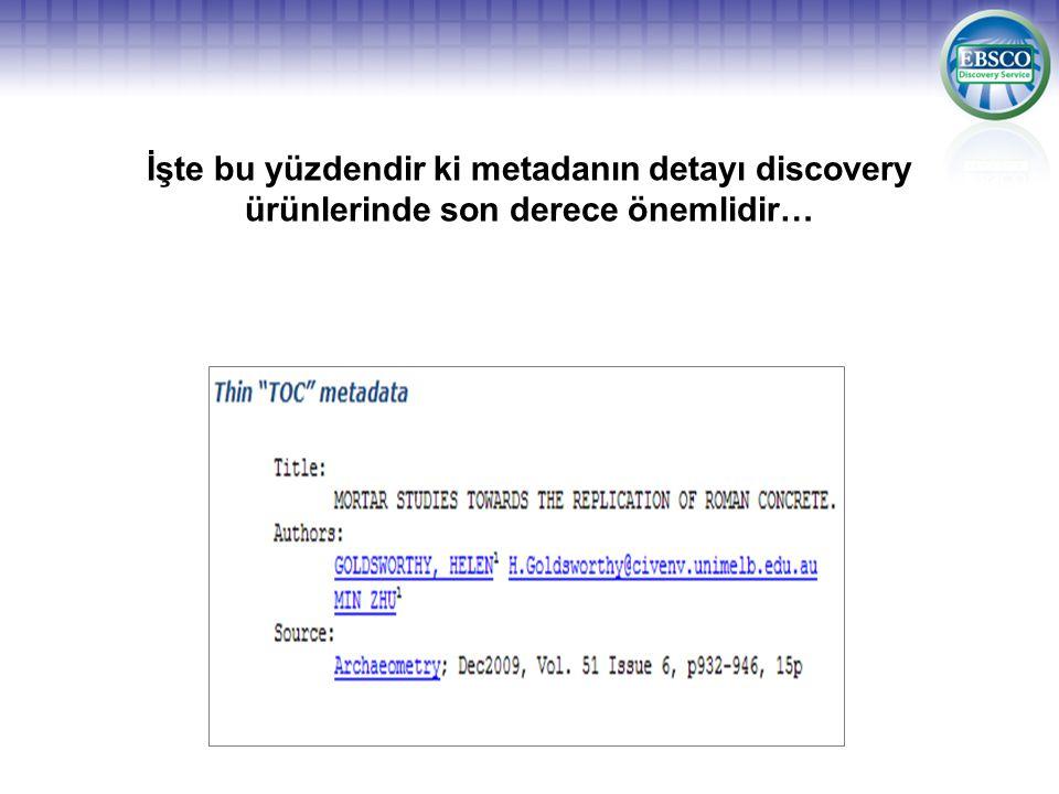 İşte bu yüzdendir ki metadanın detayı discovery ürünlerinde son derece önemlidir…