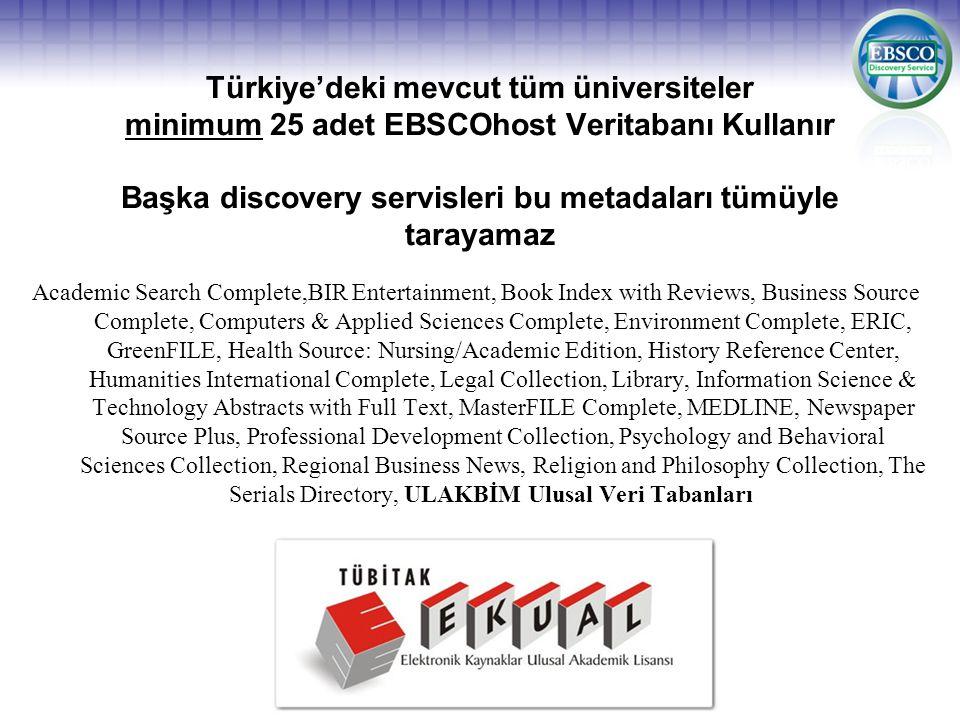 Türkiye'deki mevcut tüm üniversiteler minimum 25 adet EBSCOhost Veritabanı Kullanır Başka discovery servisleri bu metadaları tümüyle tarayamaz Academi