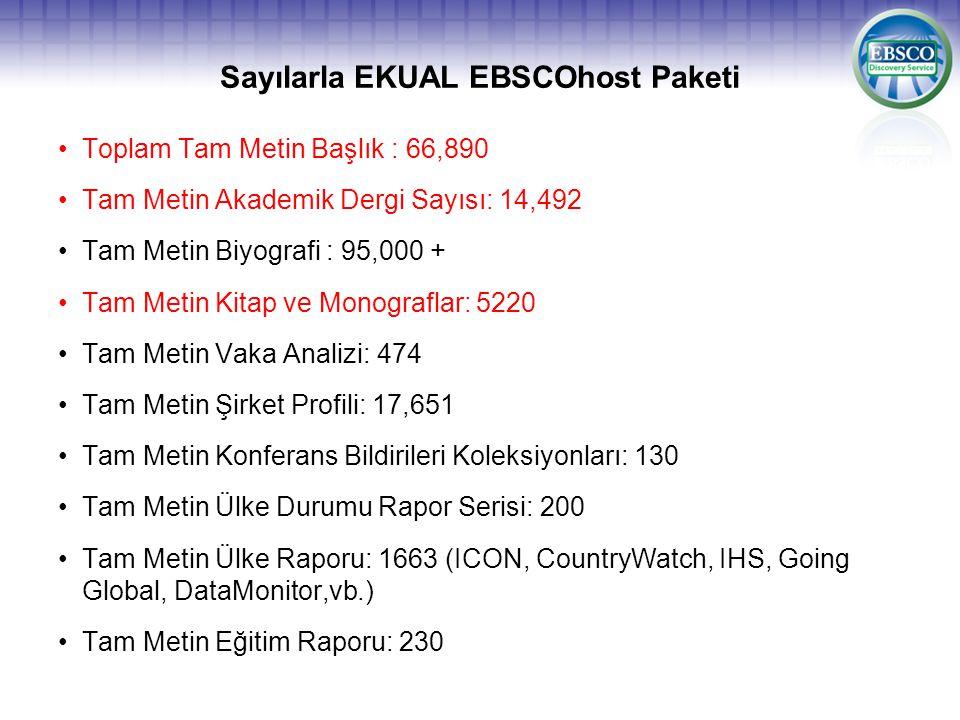 Sayılarla EKUAL EBSCOhost Paketi •Toplam Tam Metin Başlık : 66,890 •Tam Metin Akademik Dergi Sayısı: 14,492 •Tam Metin Biyografi : 95,000 + •Tam Metin