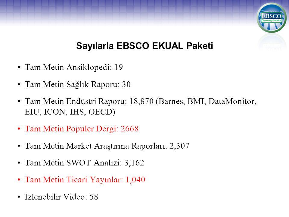 Sayılarla EBSCO EKUAL Paketi •Tam Metin Ansiklopedi: 19 •Tam Metin Sağlık Raporu: 30 •Tam Metin Endüstri Raporu: 18,870 (Barnes, BMI, DataMonitor, EIU