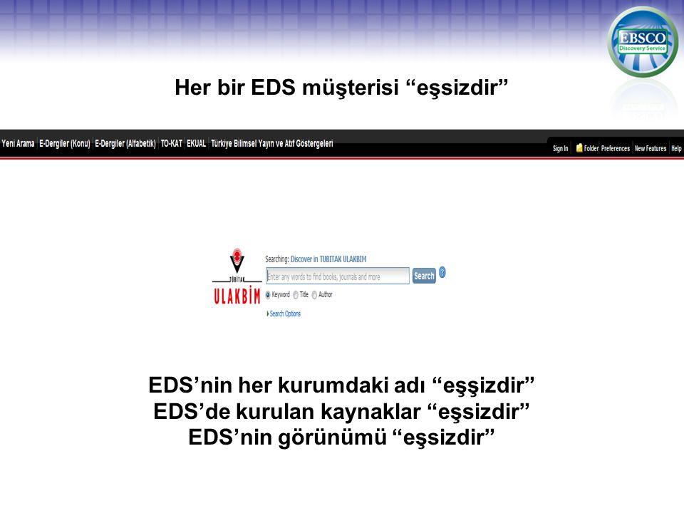 """Her bir EDS müşterisi """"eşsizdir"""" EDS'nin her kurumdaki adı """"eşşizdir"""" EDS'de kurulan kaynaklar """"eşsizdir"""" EDS'nin görünümü """"eşsizdir"""""""
