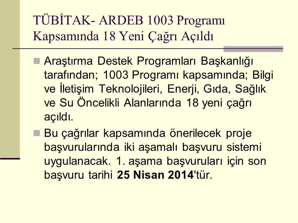 TÜBİTAK- ARDEB 1003 Programı Kapsamında 18 Yeni Çağrı Açıldı  Araştırma Destek Programları Başkanlığı tarafından; 1003 Programı kapsamında; Bilgi ve