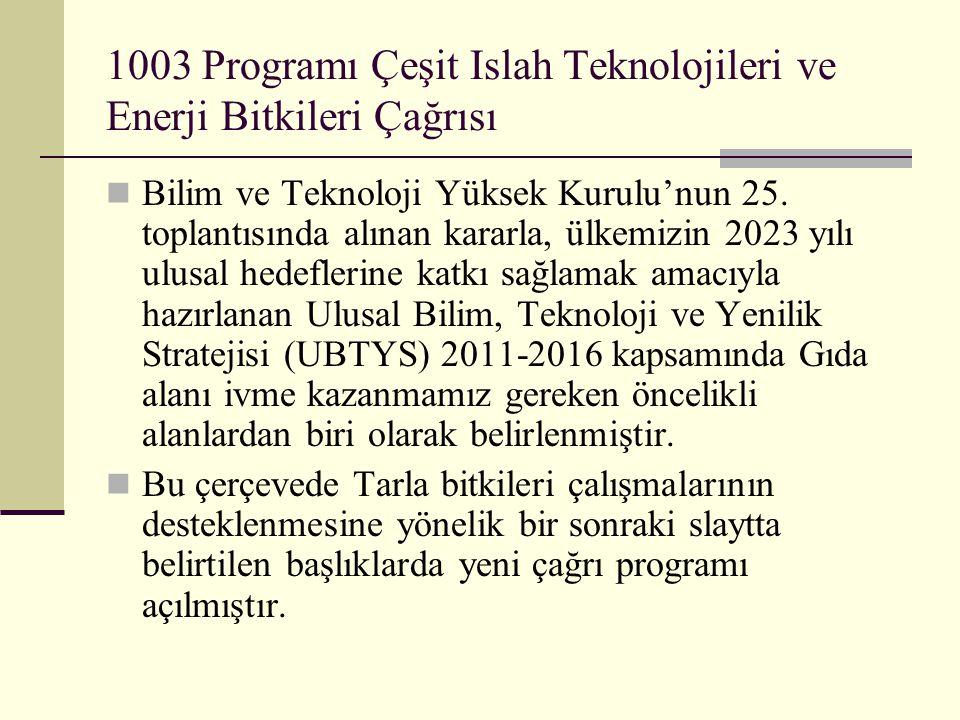 1003 Programı Çeşit Islah Teknolojileri ve Enerji Bitkileri Çağrısı  Bilim ve Teknoloji Yüksek Kurulu'nun 25. toplantısında alınan kararla, ülkemizin
