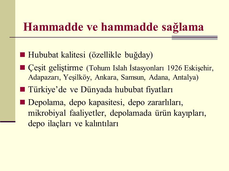 Hammadde ve hammadde sağlama  Hububat kalitesi (özellikle buğday)  Çeşit geliştirme (Tohum Islah İstasyonları 1926 Eskişehir, Adapazarı, Yeşilköy, A