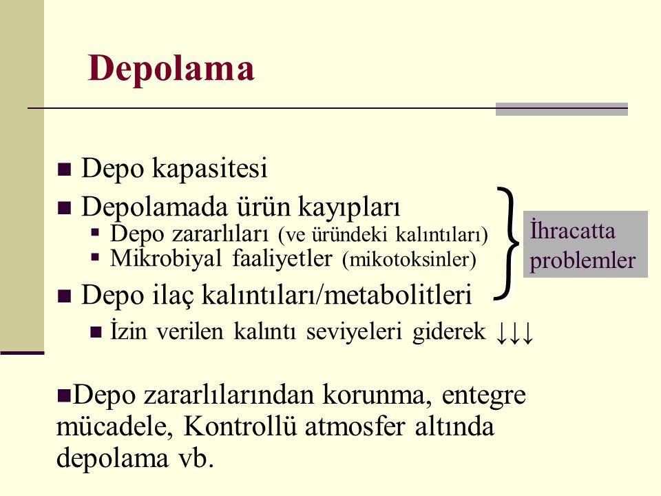 Depolama  Depo kapasitesi  Depolamada ürün kayıpları  Depo zararlıları (ve üründeki kalıntıları)  Mikrobiyal faaliyetler (mikotoksinler)  Depo il