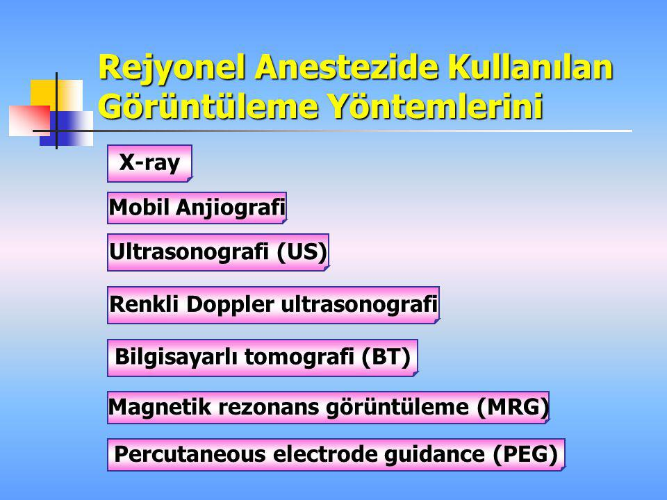 Rejyonel Anestezide Kullanılan Görüntüleme Yöntemlerini X-ray Mobil Anjiografi Renkli Doppler ultrasonografi Ultrasonografi (US) Bilgisayarlı tomograf