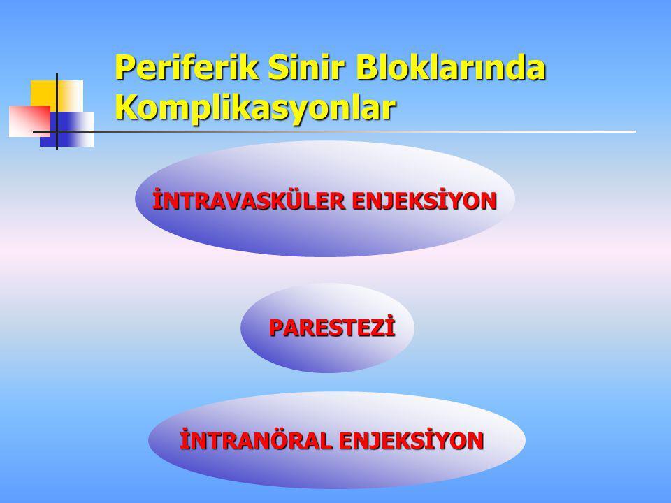 Periferik Sinir Bloklarında Komplikasyonlar İNTRAVASKÜLER ENJEKSİYON PARESTEZİ İNTRANÖRAL ENJEKSİYON