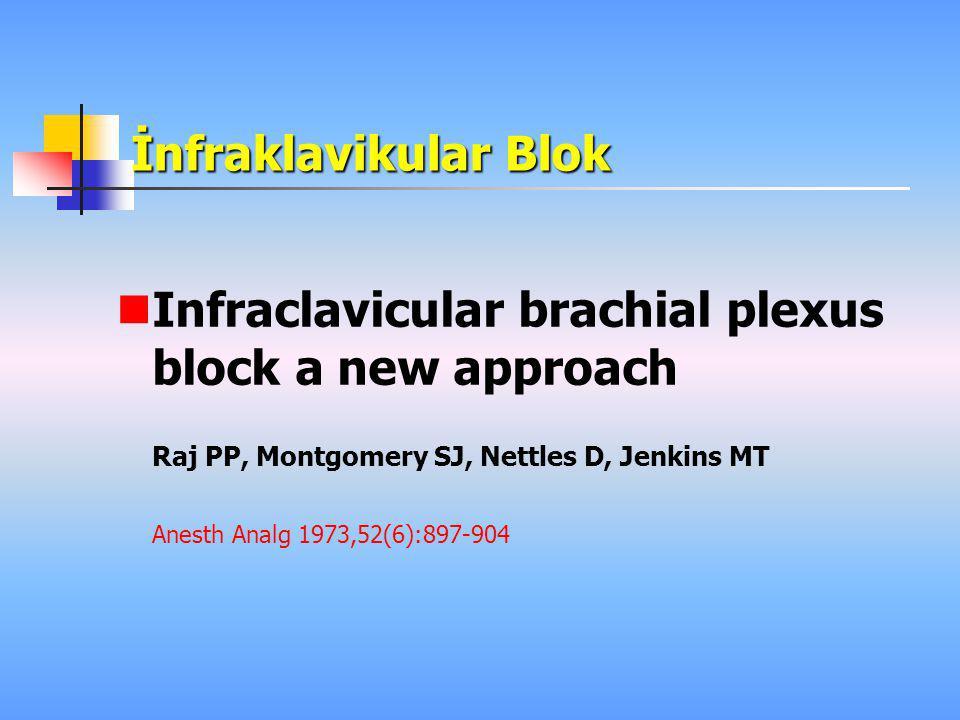 İnfraklavikular Blok  Infraclavicular brachial plexus block a new approach Raj PP, Montgomery SJ, Nettles D, Jenkins MT Anesth Analg 1973,52(6):897-9