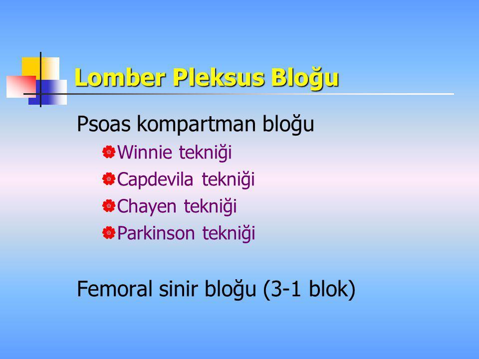 Lomber Pleksus Bloğu Psoas kompartman bloğu  Winnie tekniği  Capdevila tekniği  Chayen tekniği  Parkinson tekniği Femoral sinir bloğu (3-1 blok)