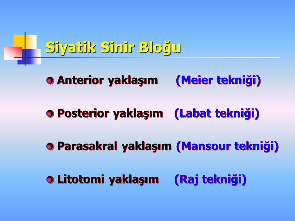 Siyatik Sinir Bloğu Anterior yaklaşım (Meier tekniği) Posterior yaklaşım (Labat tekniği) Parasakral yaklaşım (Mansour tekniği) Litotomi yaklaşım (Raj