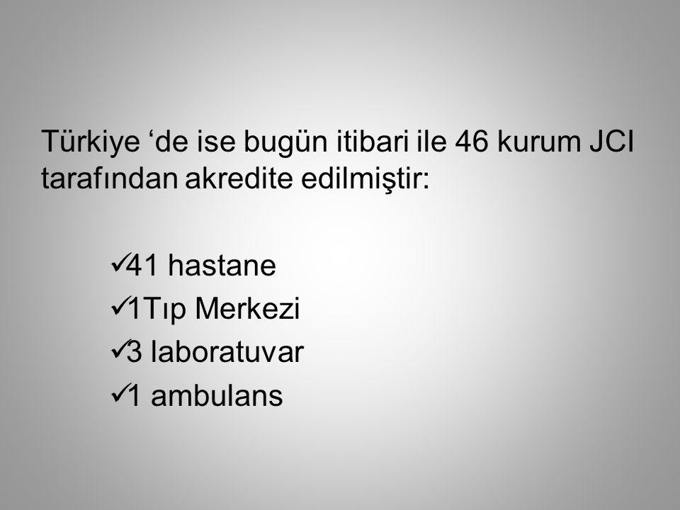 Türkiye 'de ise bugün itibari ile 46 kurum JCI tarafından akredite edilmiştir:  41 hastane  1Tıp Merkezi  3 laboratuvar  1 ambulans