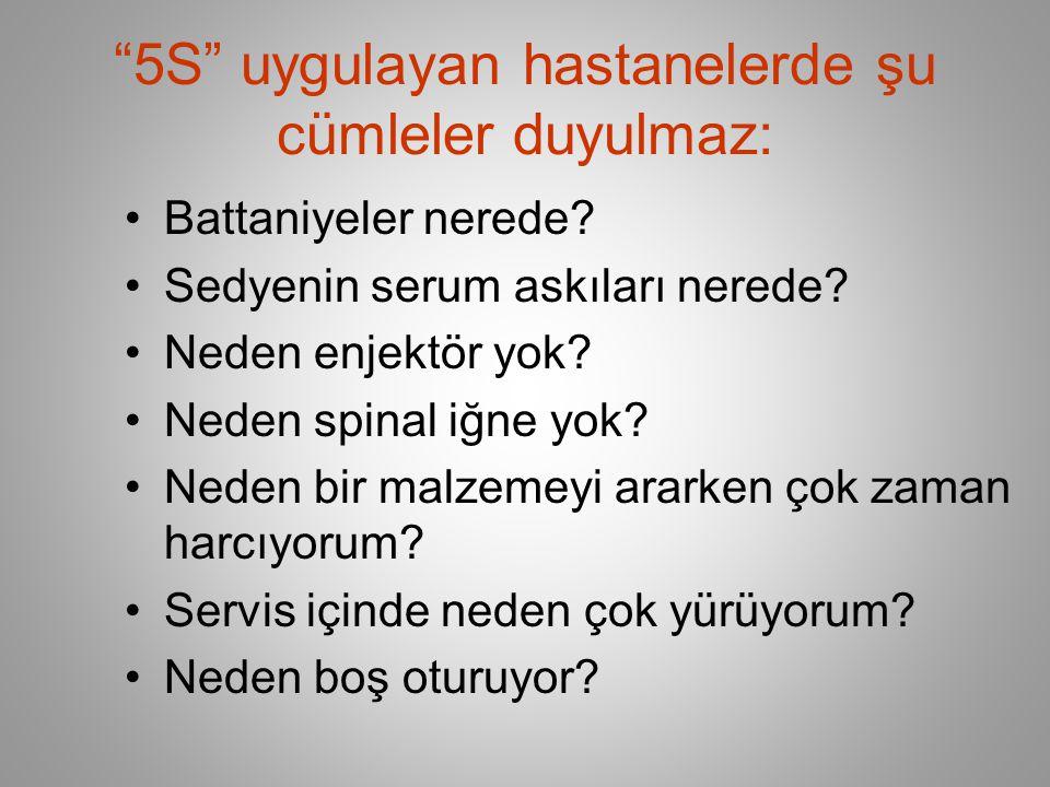 5S uygulayan hastanelerde şu cümleler duyulmaz: •Battaniyeler nerede.