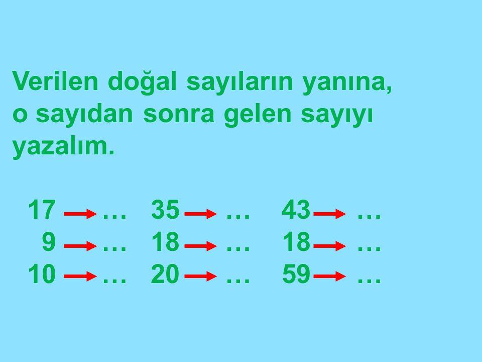 Verilen doğal sayıların yanına, o sayıdan sonra gelen sayıyı yazalım. 17 … 35 … 43 … 9 … 18 … 18 … 10 … 20 … 59 …