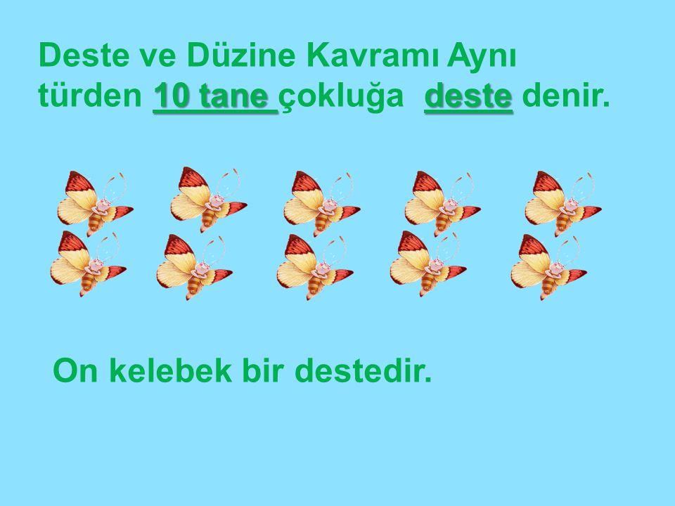 10 tane deste Deste ve Düzine Kavramı Aynı türden 10 tane çokluğa deste denir. On kelebek bir destedir.