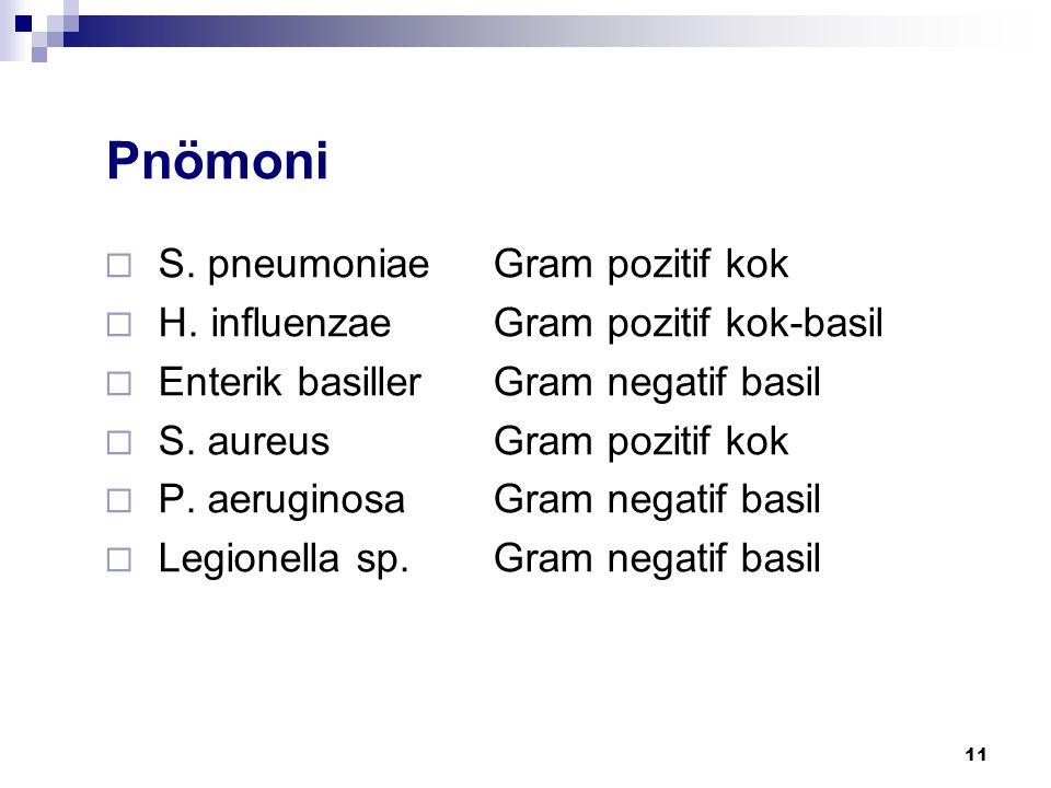 11  S. pneumoniaeGram pozitif kok  H. influenzaeGram pozitif kok-basil  Enterik basillerGram negatif basil  S. aureusGram pozitif kok  P. aerugin
