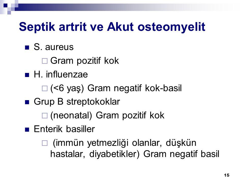 15 Septik artrit ve Akut osteomyelit  S. aureus  Gram pozitif kok  H. influenzae  (<6 yaş) Gram negatif kok-basil  Grup B streptokoklar  (neonat