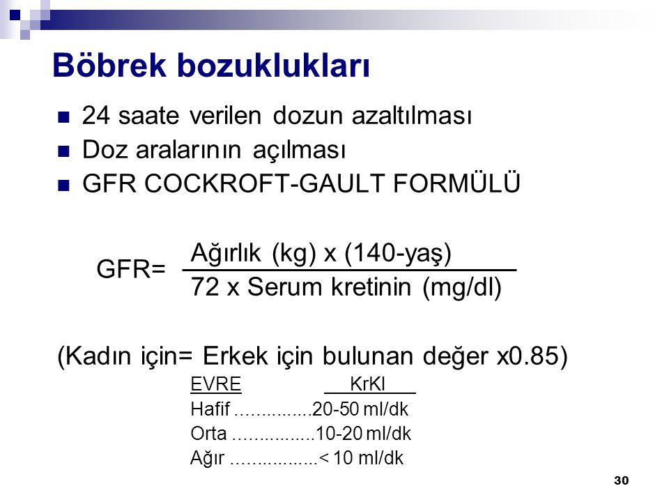 30 Böbrek bozuklukları  24 saate verilen dozun azaltılması  Doz aralarının açılması  GFR COCKROFT-GAULT FORMÜLÜ Ağırlık (kg) x (140-yaş) 72 x Serum