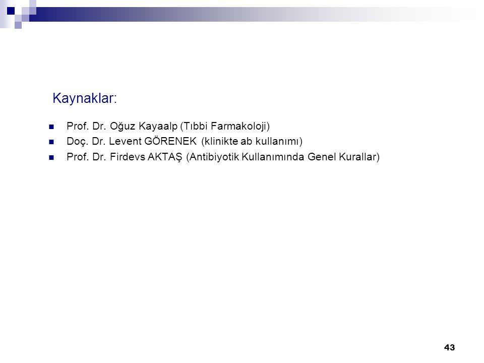 43 Kaynaklar:  Prof. Dr. Oğuz Kayaalp (Tıbbi Farmakoloji)  Doç. Dr. Levent GÖRENEK (klinikte ab kullanımı)  Prof. Dr. Firdevs AKTAŞ (Antibiyotik Ku