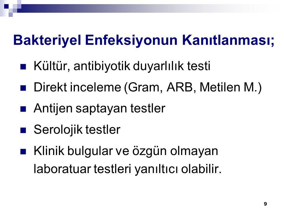9 Bakteriyel Enfeksiyonun Kanıtlanması;  Kültür, antibiyotik duyarlılık testi  Direkt inceleme (Gram, ARB, Metilen M.)  Antijen saptayan testler 