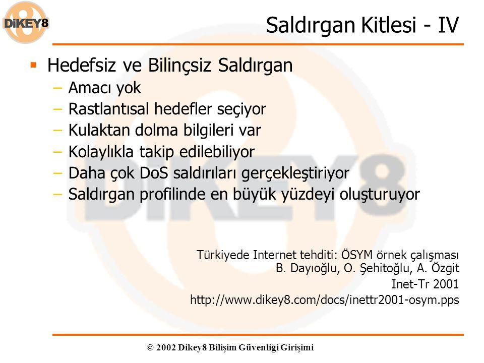 © 2002 Dikey8 Bilişim Güvenliği Girişimi Saldırgan Kitlesi - IV  Hedefsiz ve Bilinçsiz Saldırgan –Amacı yok –Rastlantısal hedefler seçiyor –Kulaktan dolma bilgileri var –Kolaylıkla takip edilebiliyor –Daha çok DoS saldırıları gerçekleştiriyor –Saldırgan profilinde en büyük yüzdeyi oluşturuyor Türkiyede Internet tehditi: ÖSYM örnek çalışması B.