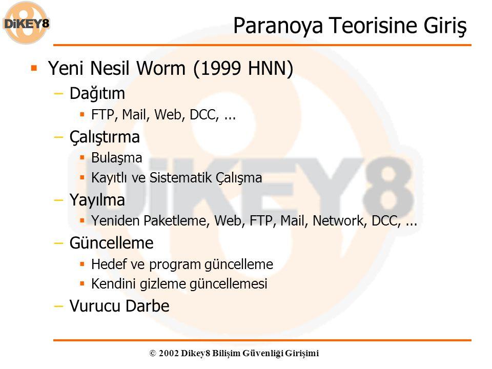 © 2002 Dikey8 Bilişim Güvenliği Girişimi Paranoya Teorisine Giriş  Yeni Nesil Worm (1999 HNN) –Dağıtım  FTP, Mail, Web, DCC,... –Çalıştırma  Bulaşm