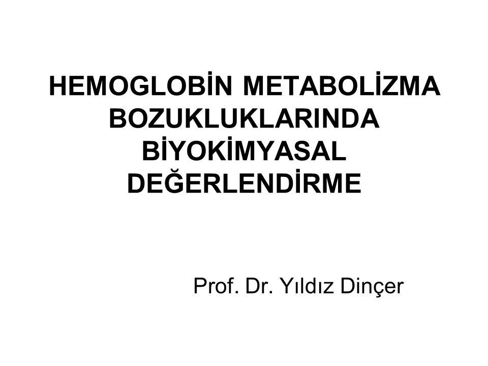 HEMOGLOBİN METABOLİZMA BOZUKLUKLARINDA BİYOKİMYASAL DEĞERLENDİRME Prof. Dr. Yıldız Dinçer