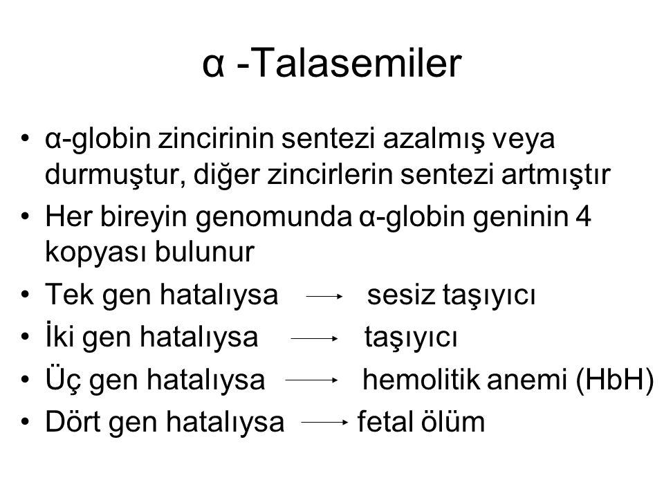 α -Talasemiler •α-globin zincirinin sentezi azalmış veya durmuştur, diğer zincirlerin sentezi artmıştır •Her bireyin genomunda α-globin geninin 4 kopy