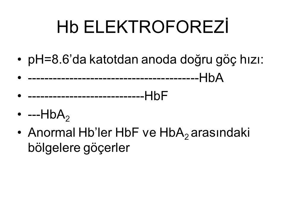 Hb ELEKTROFOREZİ •pH=8.6'da katotdan anoda doğru göç hızı: •-----------------------------------------HbA •----------------------------HbF •---HbA 2 •A
