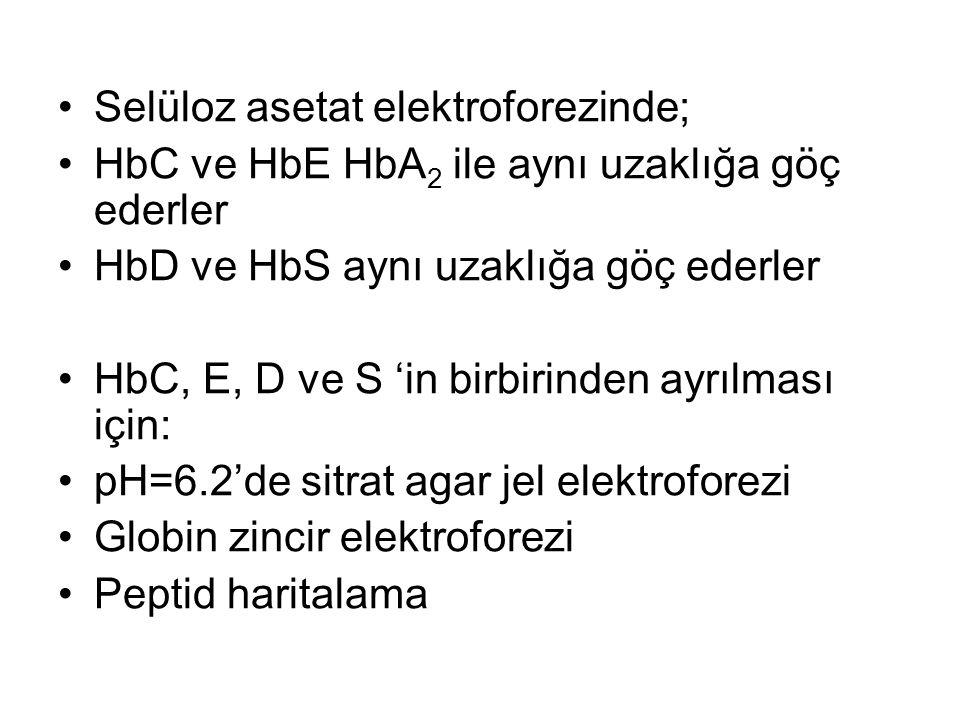 •Selüloz asetat elektroforezinde; •HbC ve HbE HbA 2 ile aynı uzaklığa göç ederler •HbD ve HbS aynı uzaklığa göç ederler •HbC, E, D ve S 'in birbirinde
