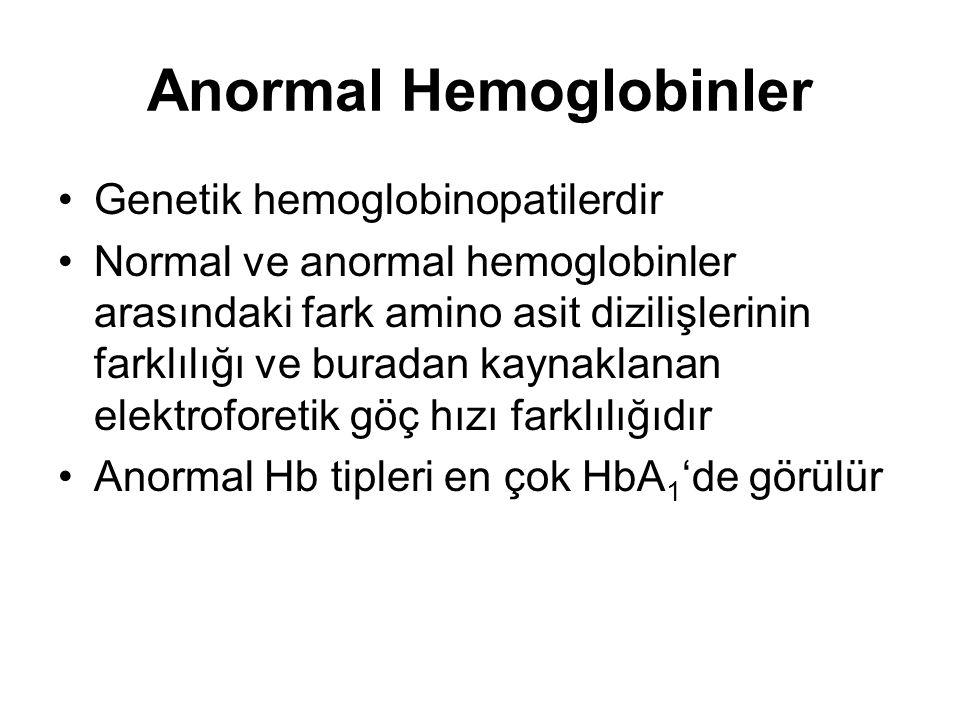Anormal Hemoglobinler •Genetik hemoglobinopatilerdir •Normal ve anormal hemoglobinler arasındaki fark amino asit dizilişlerinin farklılığı ve buradan