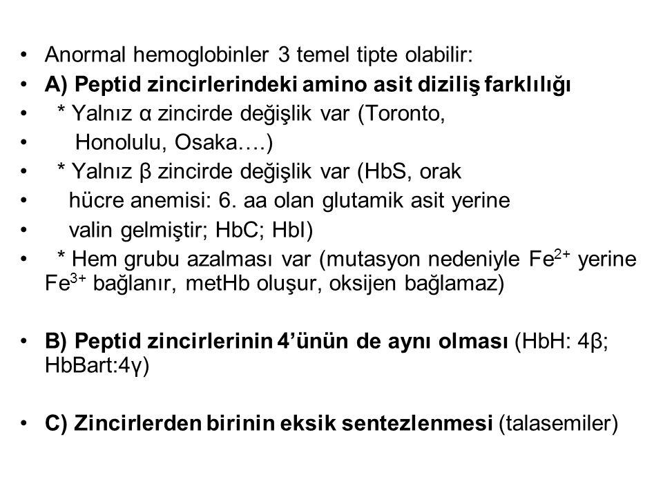 •Anormal hemoglobinler 3 temel tipte olabilir: •A) Peptid zincirlerindeki amino asit diziliş farklılığı • * Yalnız α zincirde değişlik var (Toronto, •