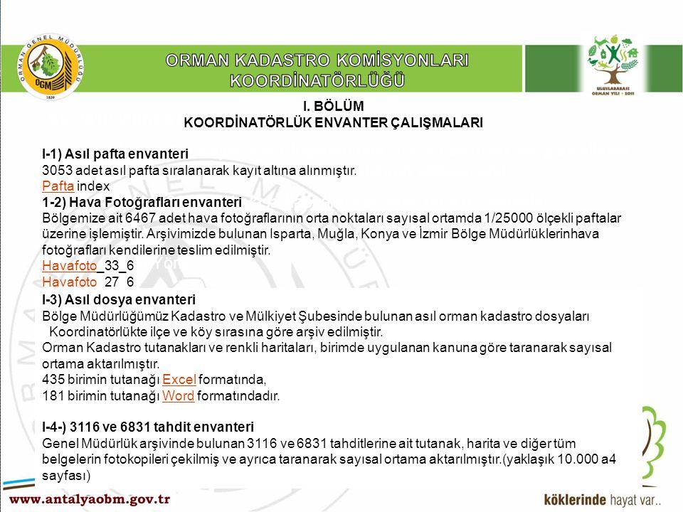 ……… Şube Müdürlüğü A)- 2010 yılında Orman Kadastro Komisyonlarınca; A-1) 5831 sayılı yasa kapsamında 2/B kadastrosu ve güncelleme çalışmaları için orman sınır noktalarının aplikasyonu, A-2) 4999 sayılı yasa kapsamında fenni hata düzeltmeleri, A-3) 3302 sayılı yasa kapsamında 2/B çalışmaları, A-4) Yönetmelik 41.