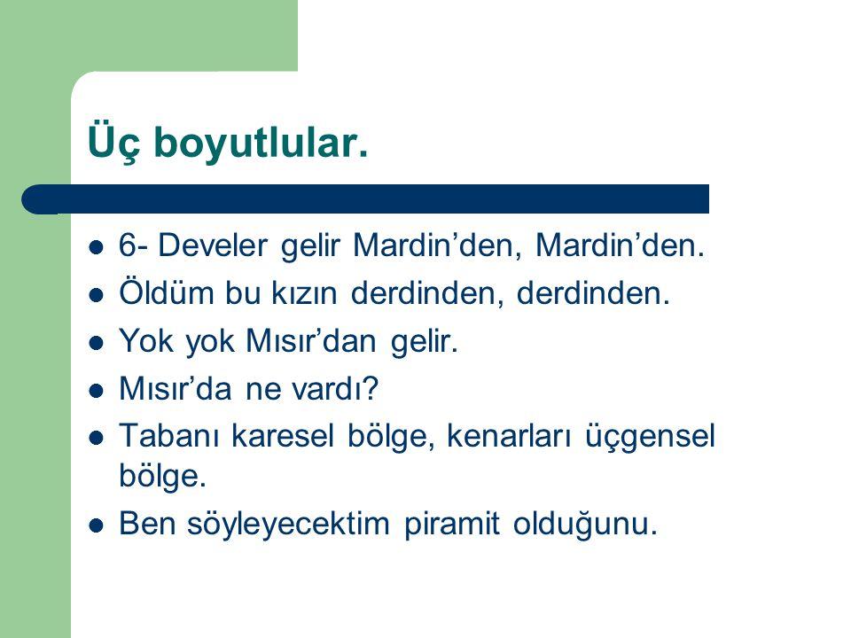 Üç boyutlular. 6- Develer gelir Mardin'den, Mardin'den.