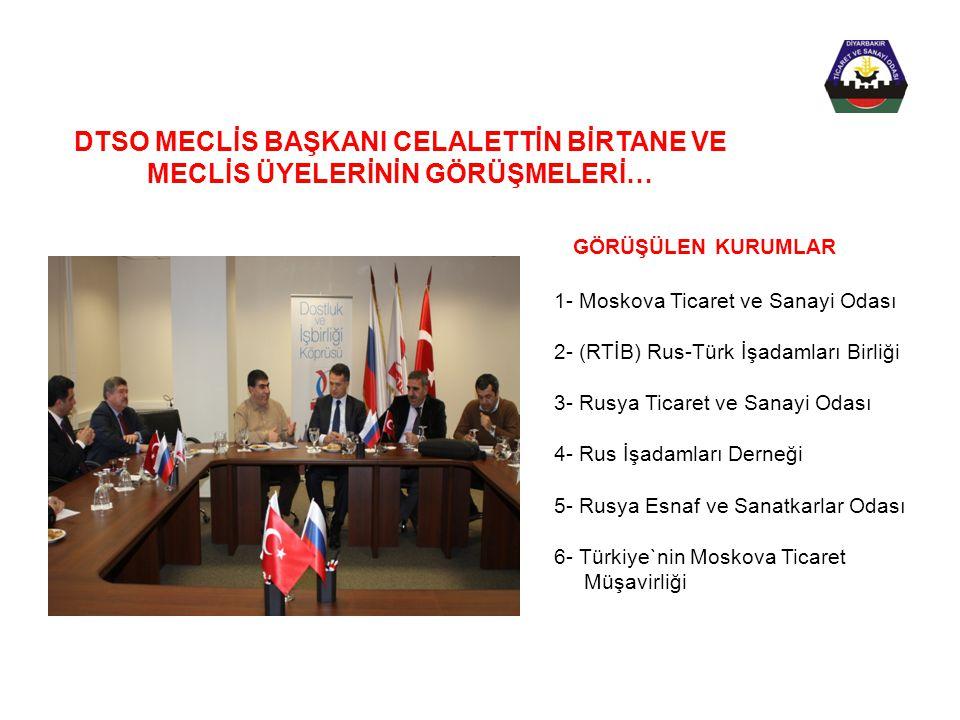 1- Moskova Ticaret ve Sanayi Odası 2- (RTİB) Rus-Türk İşadamları Birliği 3- Rusya Ticaret ve Sanayi Odası 4- Rus İşadamları Derneği 5- Rusya Esnaf ve