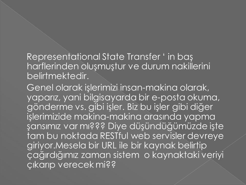 Representational State Transfer ' in baş harflerinden oluşmuştur ve durum nakillerini belirtmektedir.