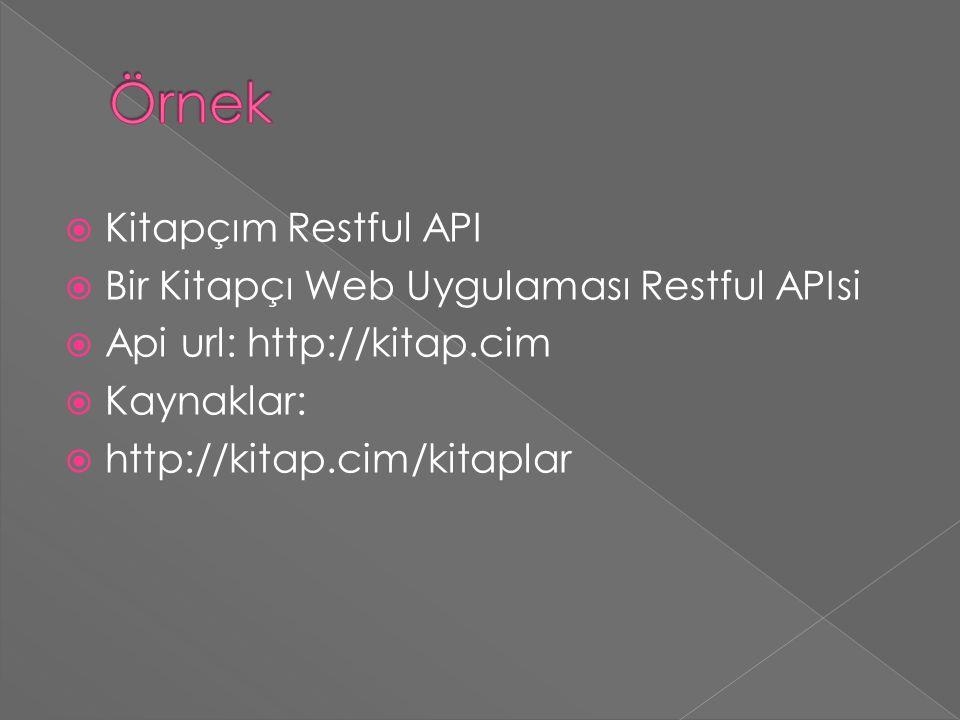  Kitapçım Restful API  Bir Kitapçı Web Uygulaması Restful APIsi  Api url: http://kitap.cim  Kaynaklar:  http://kitap.cim/kitaplar