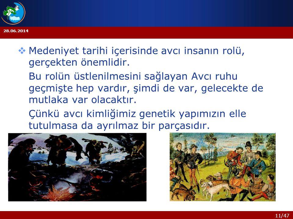 11/47 28.06.2014  Medeniyet tarihi içerisinde avcı insanın rolü, gerçekten önemlidir. Bu rolün üstlenilmesini sağlayan Avcı ruhu geçmişte hep vardır,