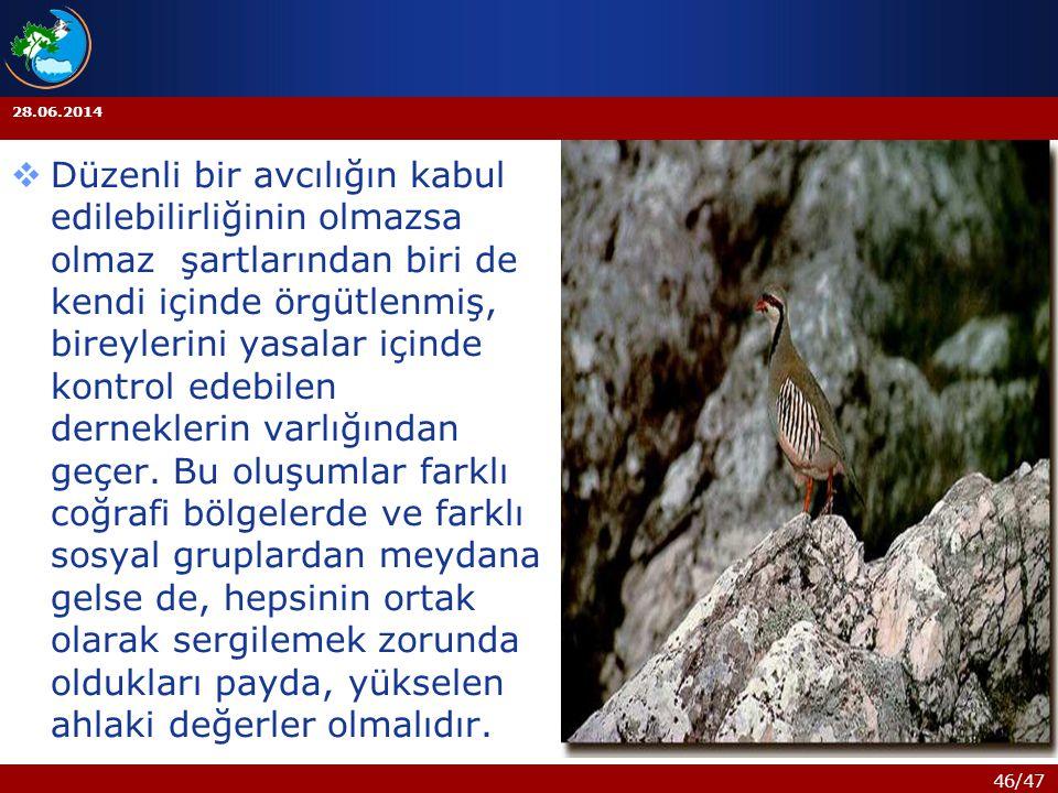 46/47 28.06.2014  Düzenli bir avcılığın kabul edilebilirliğinin olmazsa olmaz şartlarından biri de kendi içinde örgütlenmiş, bireylerini yasalar için