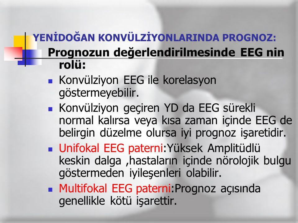 YENİDOĞAN KONVÜLZİYONLARINDA PROGNOZ: Prognozun değerlendirilmesinde EEG nin rolü:  Konvülziyon EEG ile korelasyon göstermeyebilir.  Konvülziyon geç