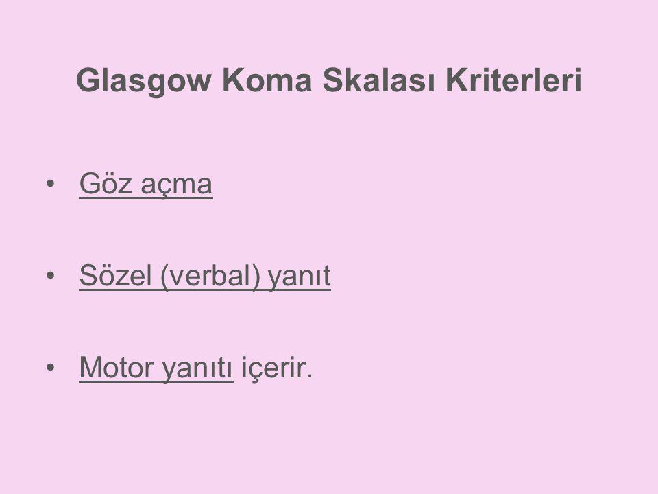 Glasgow Koma Skalası Kriterleri •Göz açma •Sözel (verbal) yanıt •Motor yanıtı içerir.
